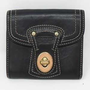 COACH Black Leather Legacy French Turnlock Wallet